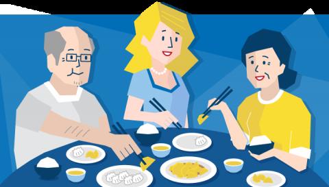 Three people eating Chinese dumplings using chopsticks