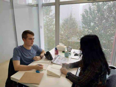 Noah having a 1 on 1 class in Beijing