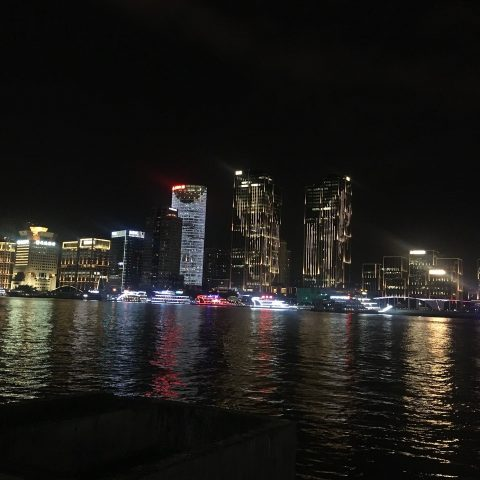 Shanghai by night: View from Pudong over to the Bund