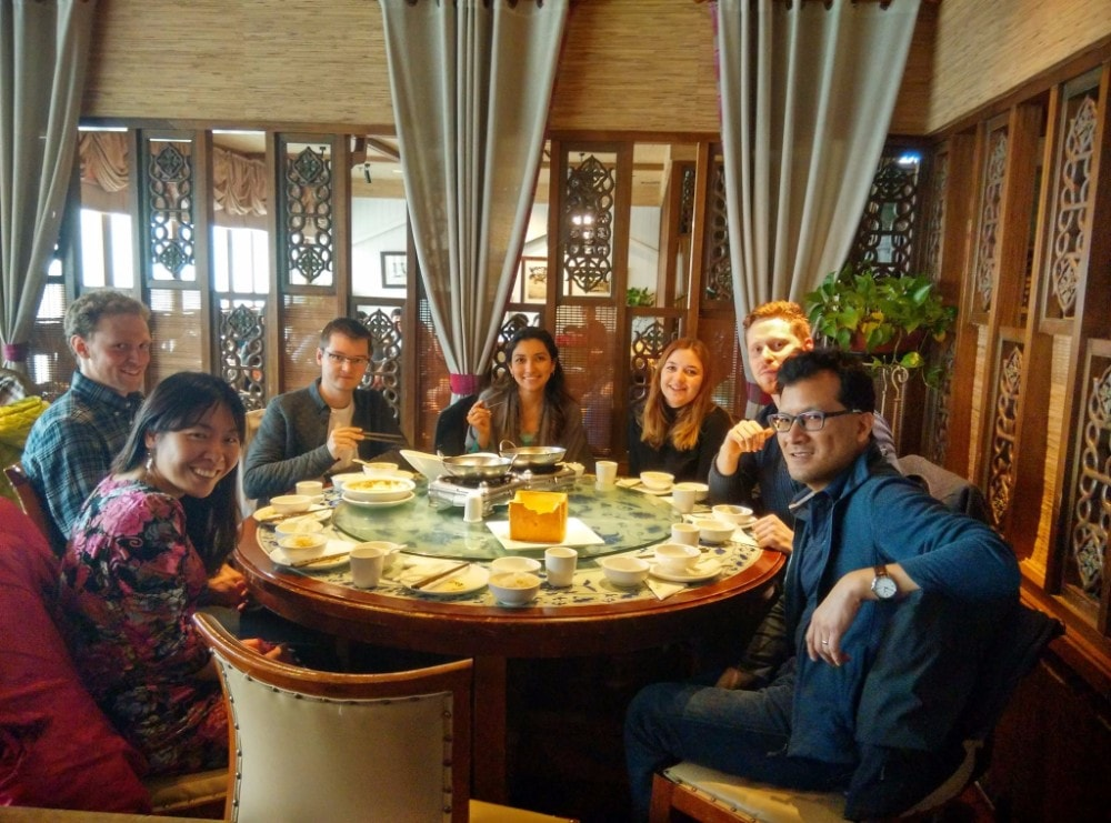Students sat a table at a restaurant in Beijing