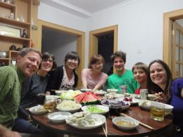 The Paige family with their homestay