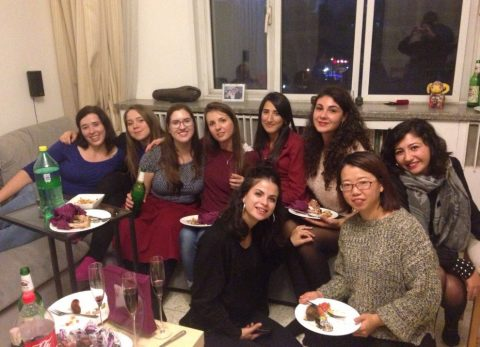 Sara with the other LTL staff and students at a house party