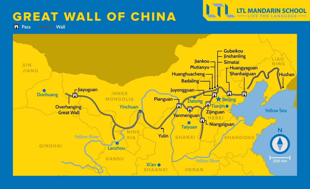 where is great wall of china on a map Great Wall Of China Map 2020 10 Sections To Visit where is great wall of china on a map