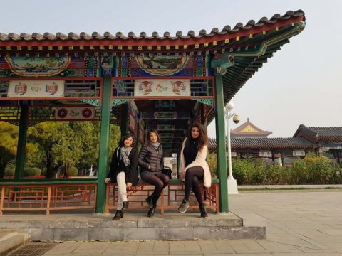 Francesca and two friends at the forbidden city in Beijing