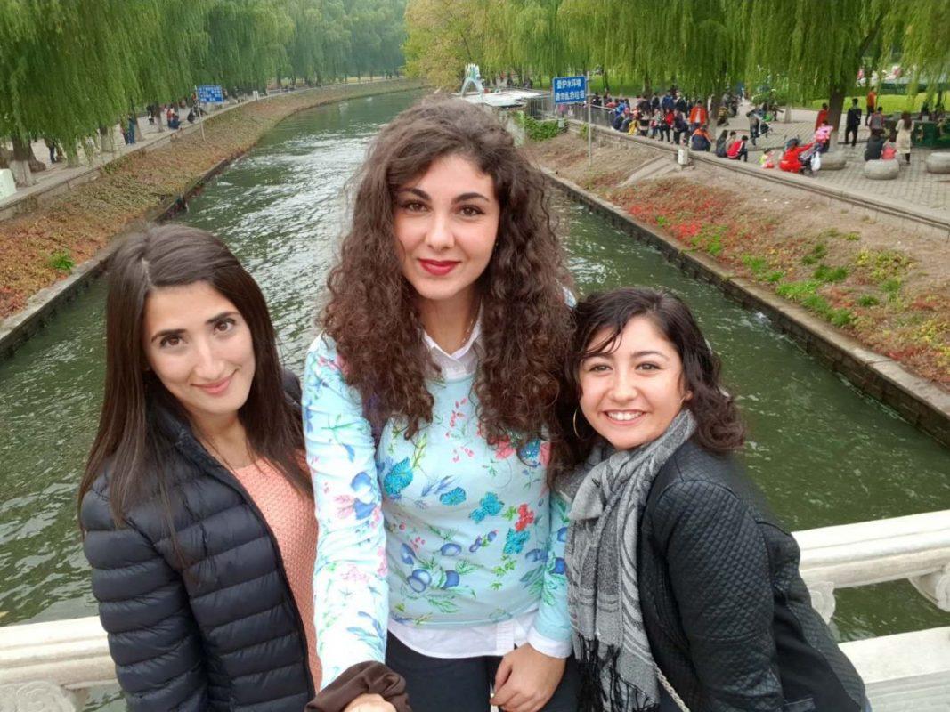 Francesca and two friends selfie on a bridge