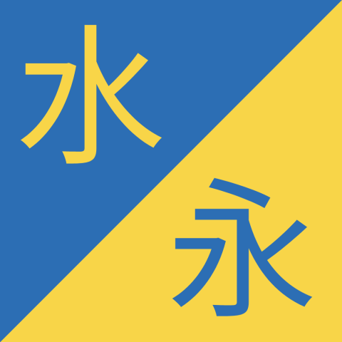 Similar Chinese Characters - 水 / 永 - Shuǐ / Yǒng