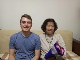 Noah with his homestay mum