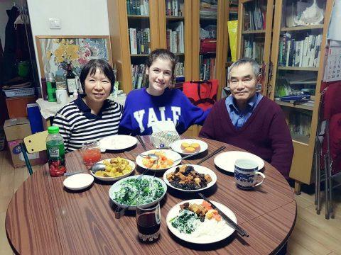 Savannah enjoying dinner with her Beijing Homestay