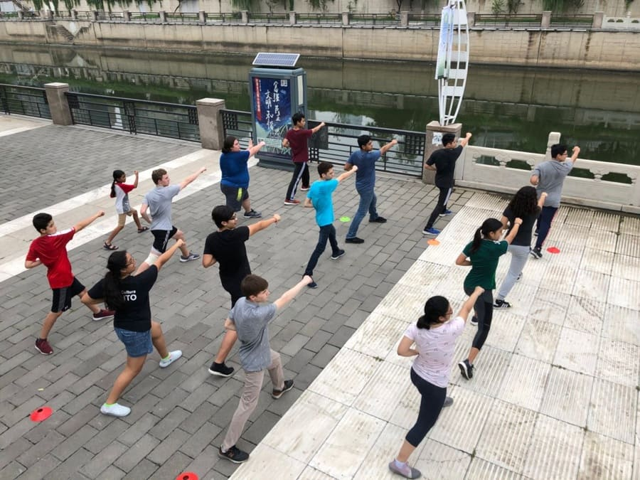 Students doing Tai Qi in Beijing